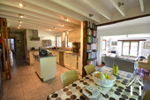 Dining, living, kitchen