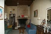 Open stone fireplace