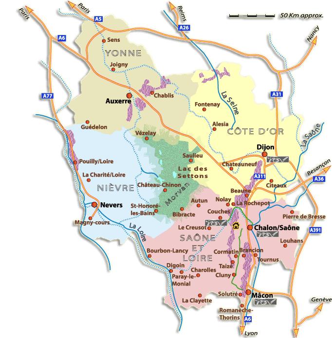 <en>The 4 departments of Burgundy</en>