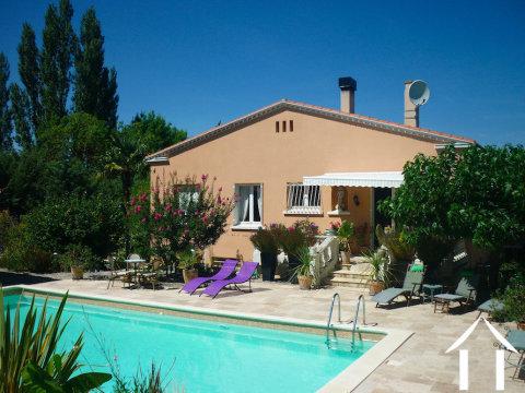 4 slaapkamer woning in de nabijheid van Limoux met zwembad, tropische tuinen en familie-gastenkamer Ref # MPPOP0086